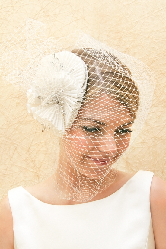 bridal veils hair accessories by Suzy Orourke birdcage veil with flower