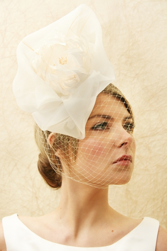 bridal veils hair accessories by Suzy Orourke dramatic birdcage veil with oversize flower