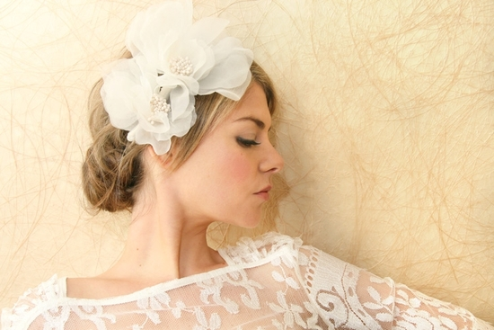 bridal veils hair accessories by Suzy Orourke floral organza headband