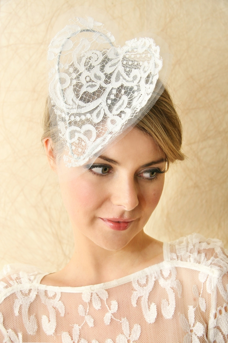 Bridal Veils Hair Accessories By Suzy Orourke Lace Heart Headband | OneWed.com