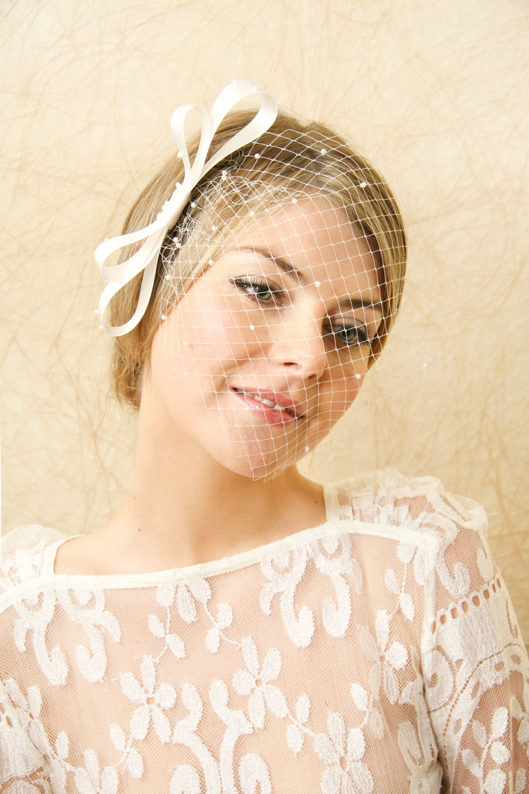 Bridal Veils Hair Accessories Birdcage Veil With Pearls | OneWed.com