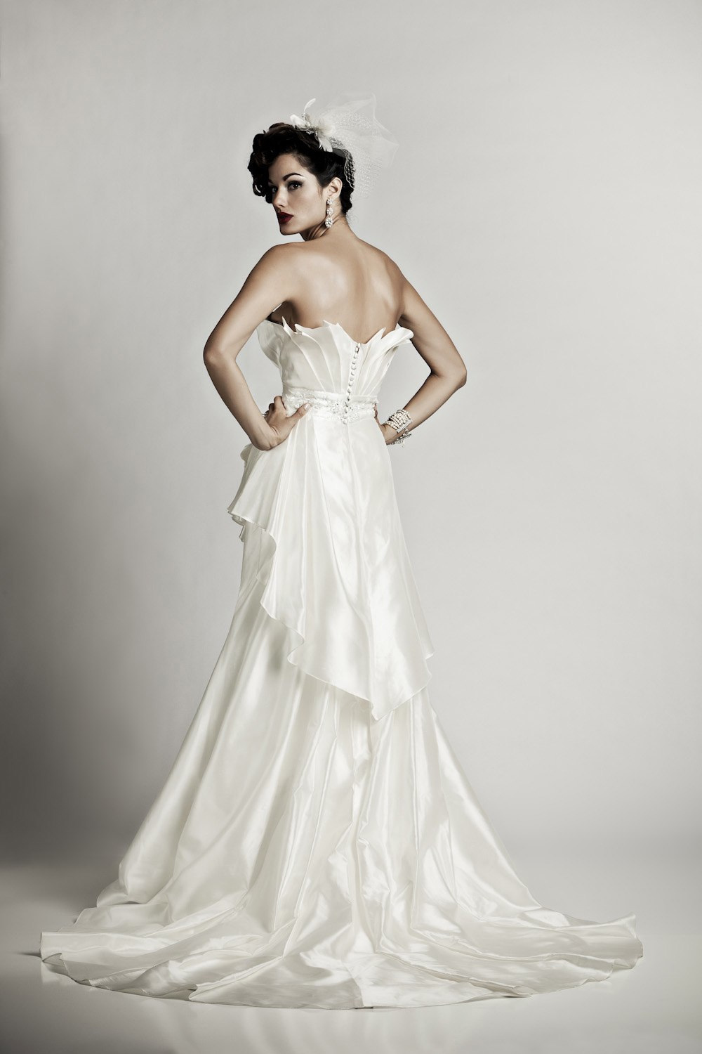 Ivory-delphine-wedding-dress-artistic-mermaid-cinched-waist-vintage-bridal-style-back.full