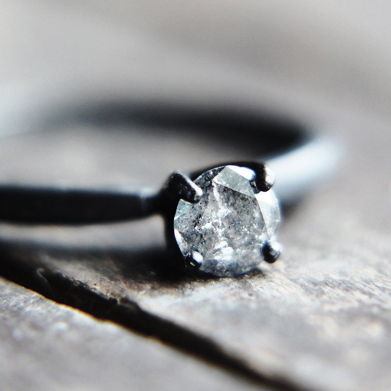 rought diamond engagement ring Gray Diamond Solitaire