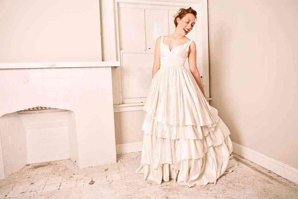 classic a line wedding dress notched neckline