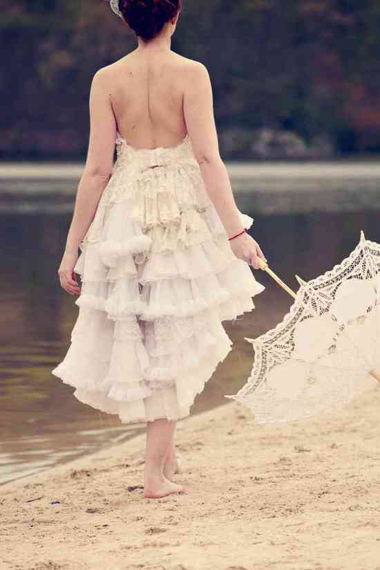 vintage inspired wedding dress tiers of tulle lace ruffled