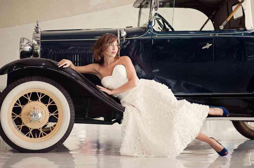 Retro-tea-length-wedding-dress-blue-wedding-shoes.full