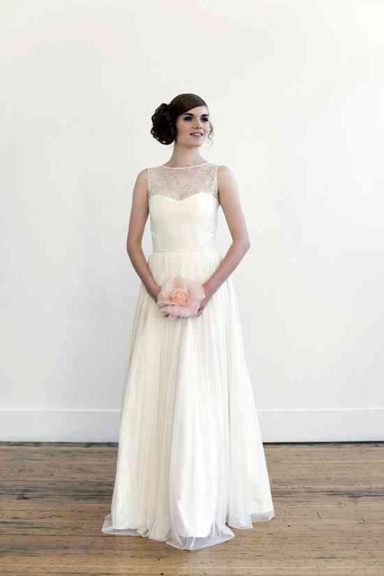 Wedding Dresses Modified A Line : Classic modified a line wedding dress lace illusion neck onewed