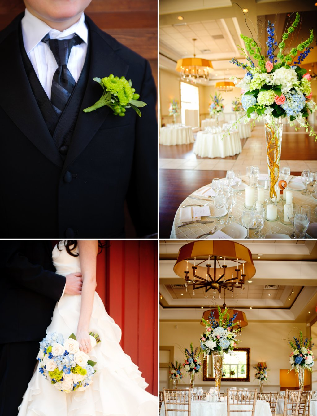 Elegant Real Wedding With Simple Details Topiary Centerpieces Blue Ivory Green Bouquet