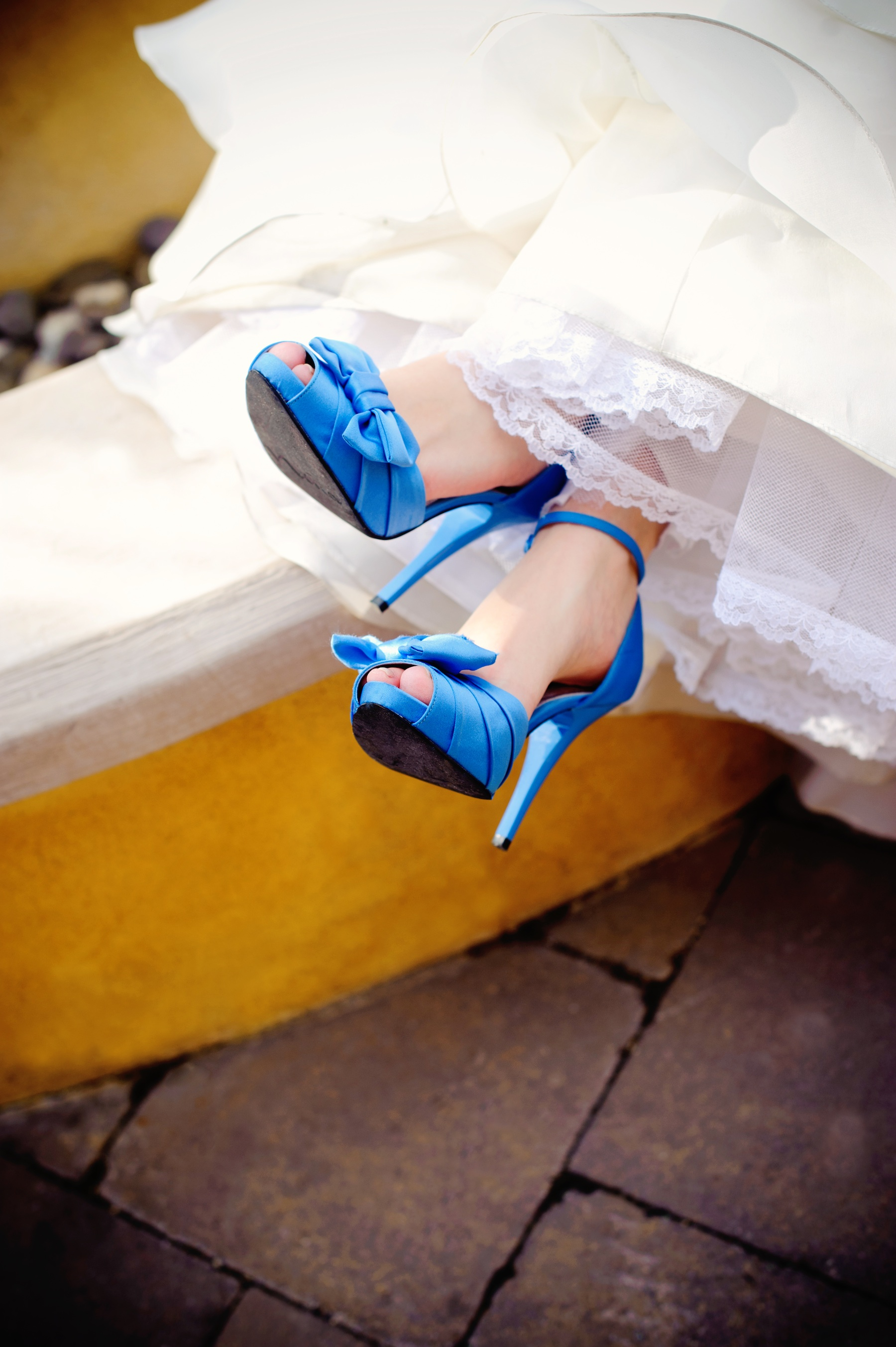 Elegant real wedding with simple diy details ivory wedding for Blue shoes for wedding dress