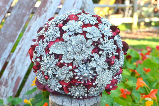 brooch bridal bouquet silver red