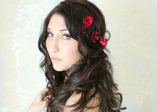 red wedding hair flowers