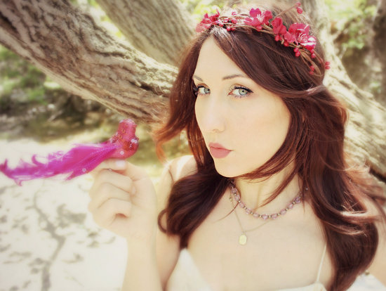 red floral head wreath for bohemian brides