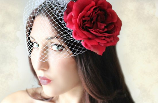 white birdcage veil red flower
