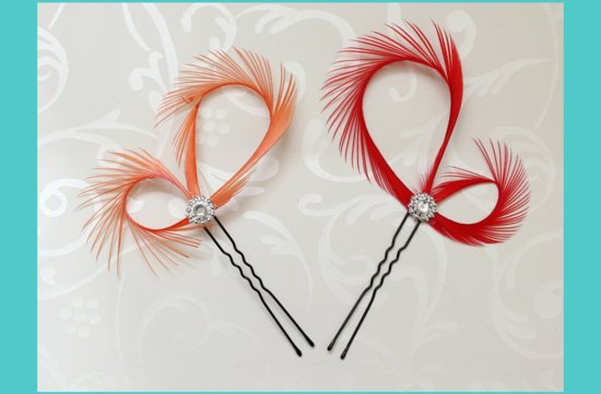 red orange bridal hair accessories feather fascinator