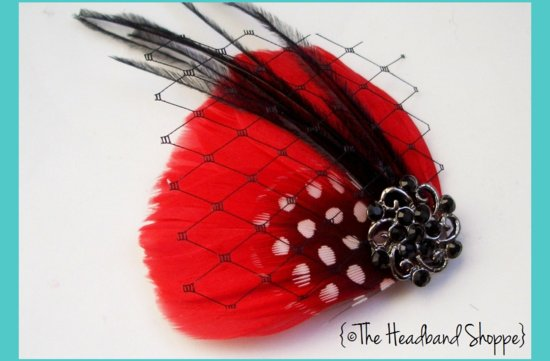 black red feather fascinator wedding hair accessories