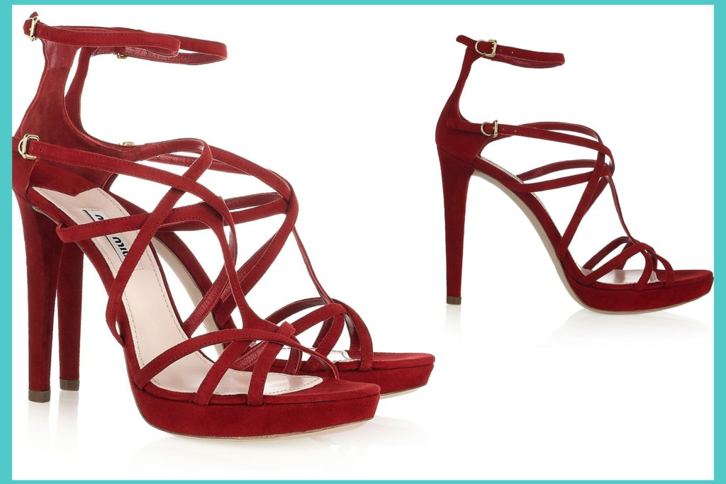 strappy red wedding shoes