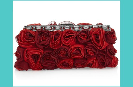 red bridal clutch rosettes crystals