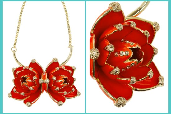 elegant gold red bridal necklace perfect for Asian wedding