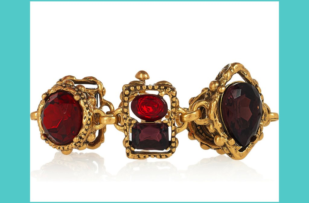 something red for the modern bride gold ruby wedding bracelet
