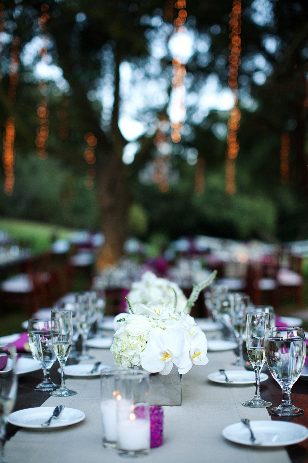 Outdoor-wedding-reception-long-banquet-tables-ivory-wedding-flowers.full