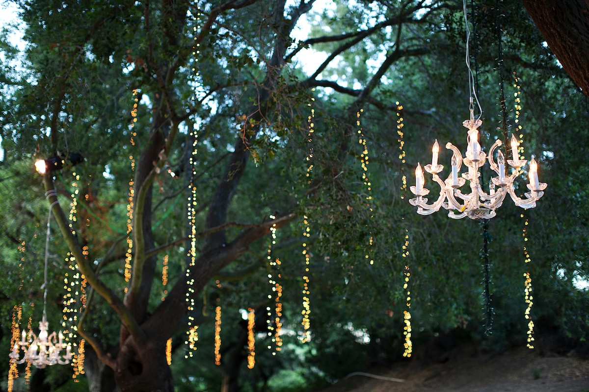 Elegant outdoor wedding at winery in malibu sparkling for How to hang outdoor string lights without trees