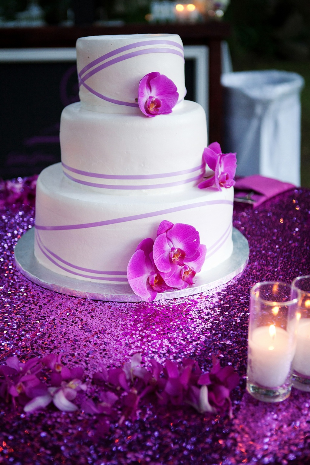 Wedding Cakes Purple Orchids Elegant Winery In Malibu Classic Cake With