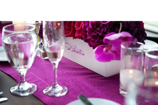 photo of romantic purple red fuschia wedding flower centerpieces California wedding 1