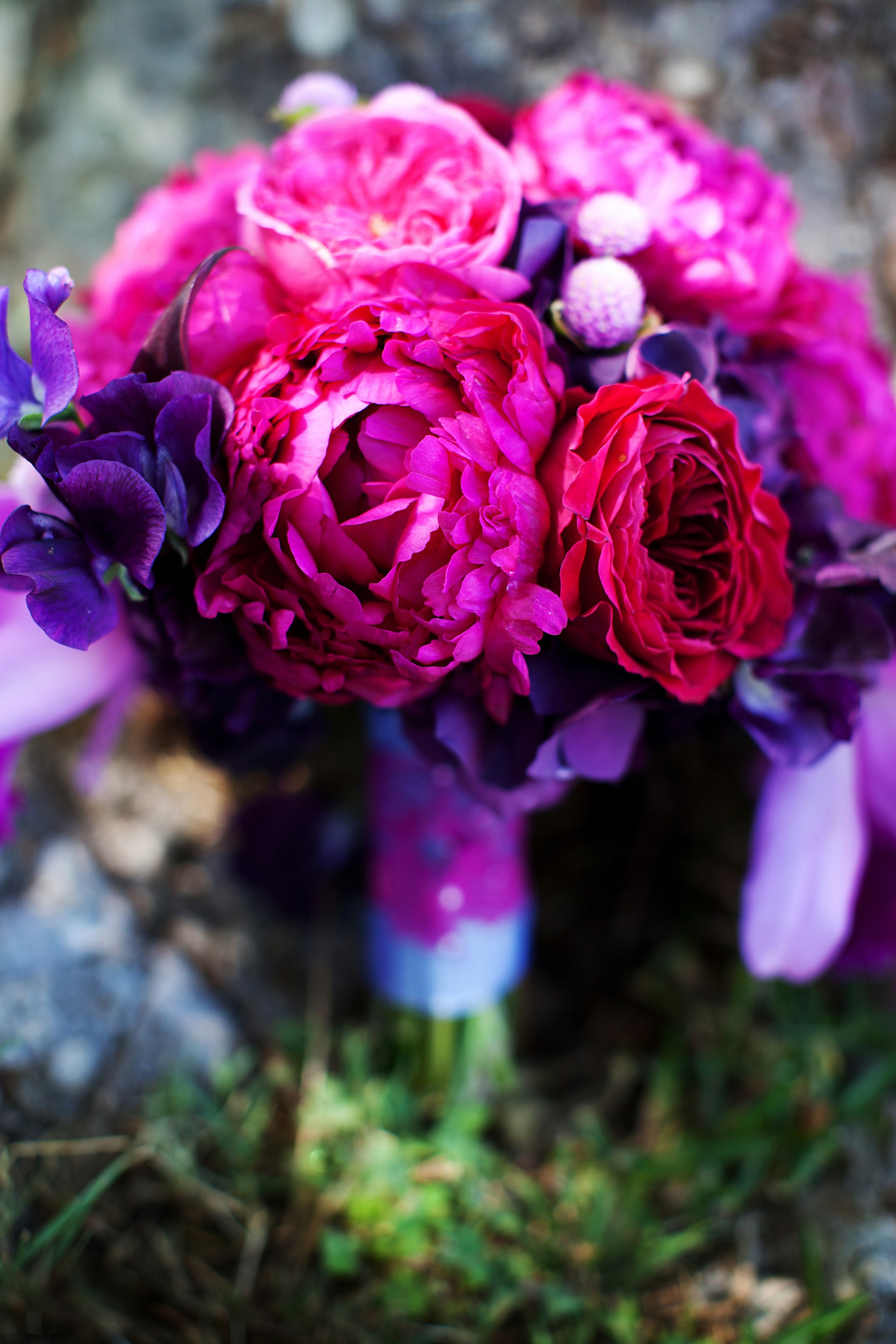 Bridal Bouquets Pink And Purple Elegant Malibu Wedding With Bold Flowers Bouquet Onewed