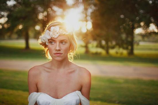 romantic bohemian bride floral hair crown