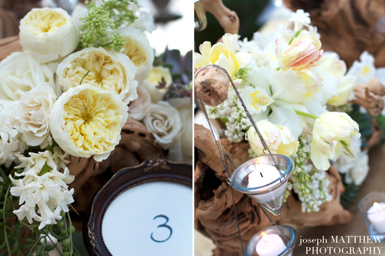 rustic ivory wedding centerpieces