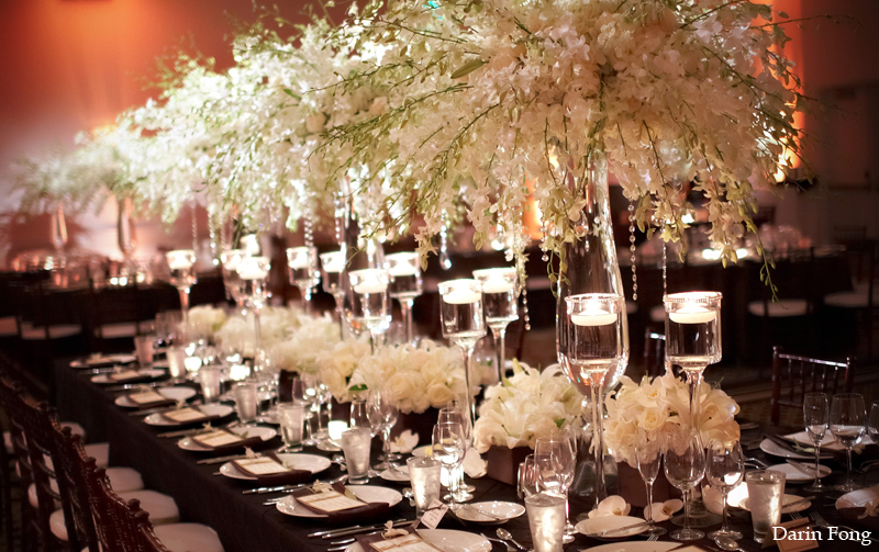 white ivory wedding flowers elegant reception table 1