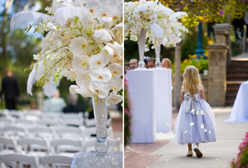 Elegant Wedding Reception Centerpiece Ivory Flowers