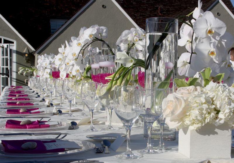 Beach Wedding Tablescape White Orchids Ivory Hydrangeas