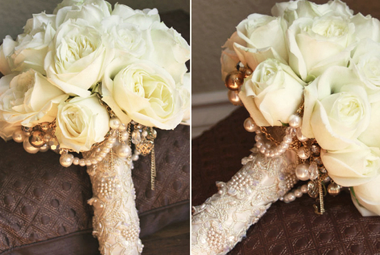 vintage jewelry wedding bouquet aileen tran 2