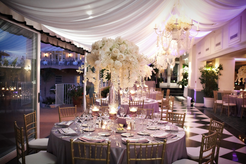 Elegant Wedding Reception Centerpiece Ivory Flowers