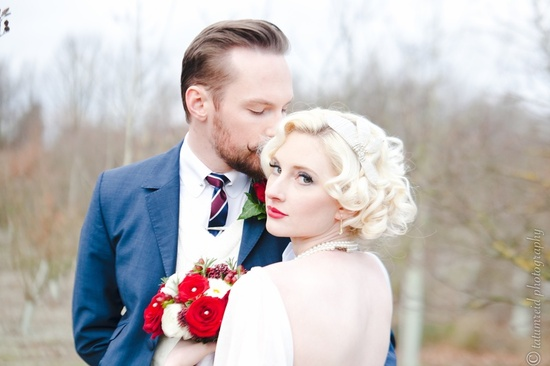 blonde bombshell vintage bride short wedding hair red lips