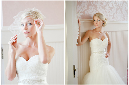 blonde bride wears chic chignon bridal updo 3