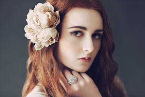 photo of romantic vintage inspired bride red hair all down wedding hairstyle