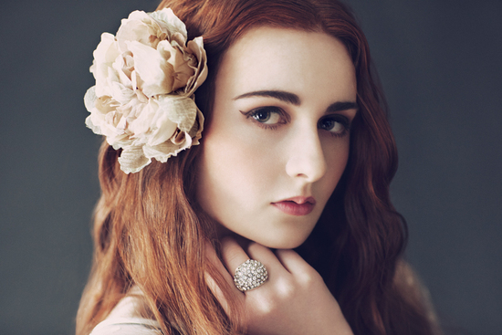 romantic vintage inspired bride red hair all down wedding hairstyle
