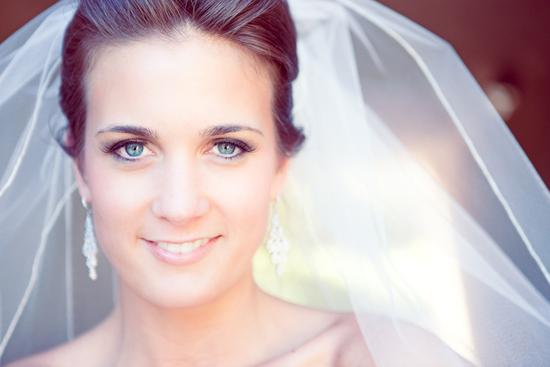 photo of bridal beauty natural wedding makeup tulle bridal veil