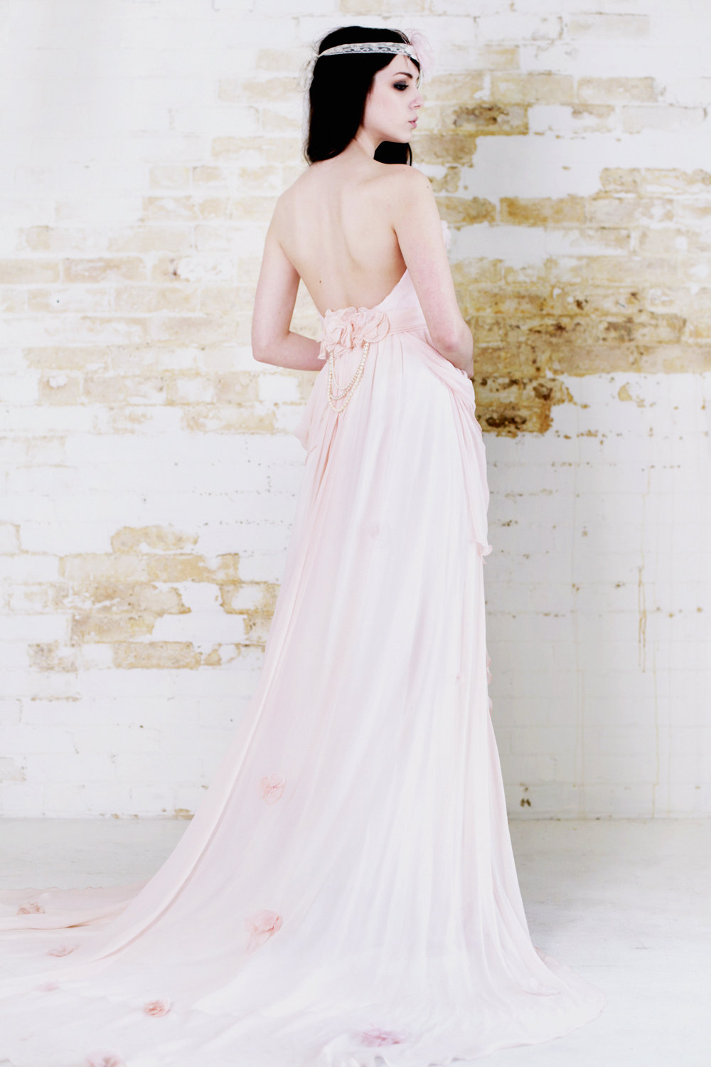 pastel pink wedding dress low open back