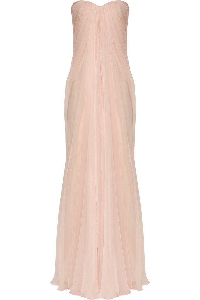 photo of petal pink wedding dress Alexander McQueen silk chiffon