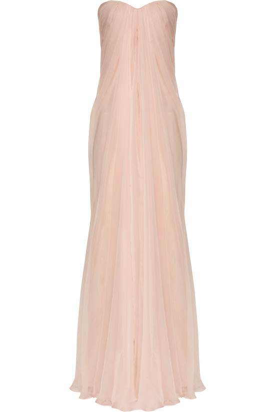 petal pink wedding dress Alexander McQueen silk chiffon