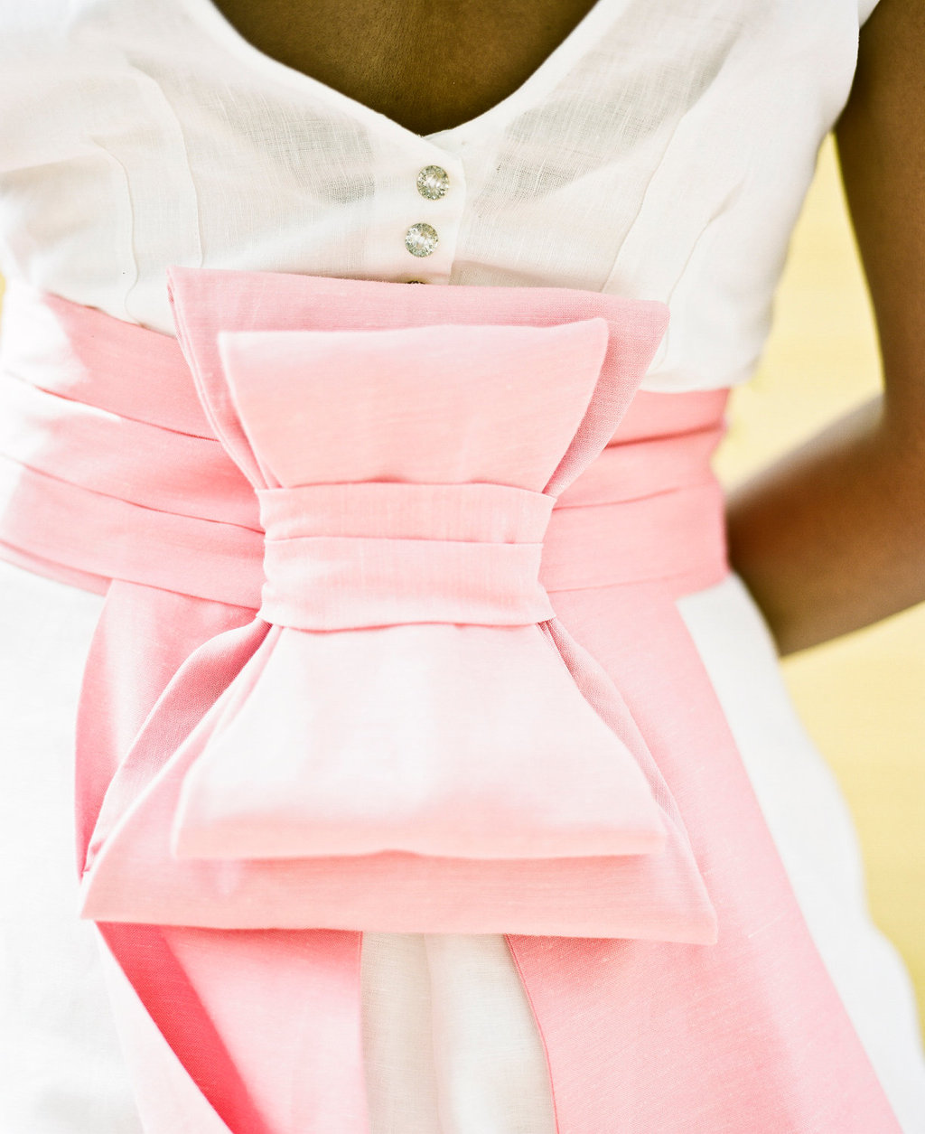 Pink Wedding Dress Sash : Pretty linen wedding dress with crystal buttons and a pink