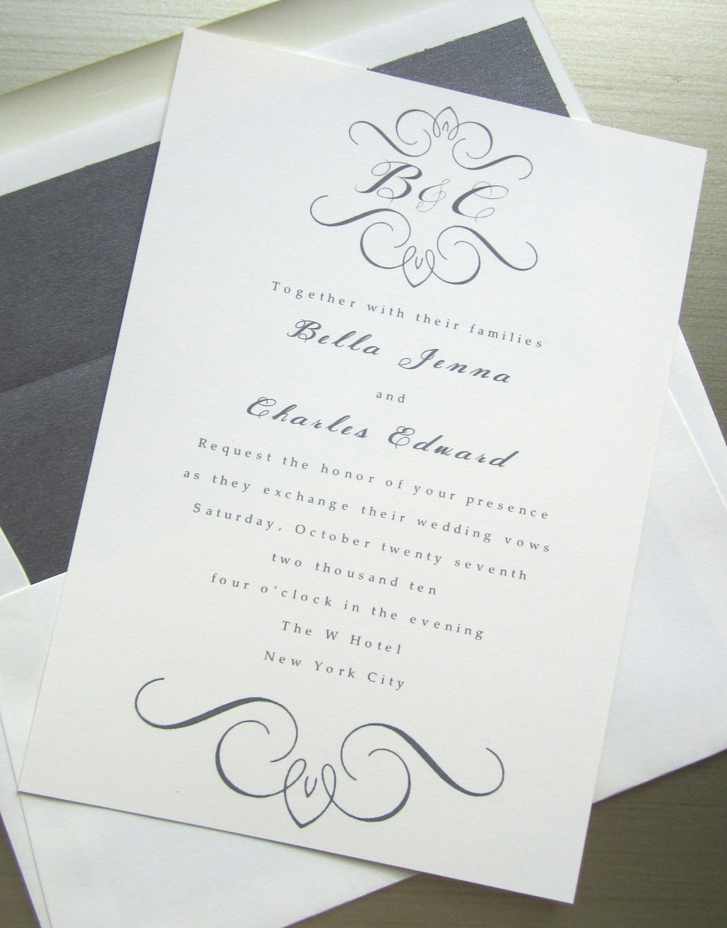 wedding invites white gray with custom monogram