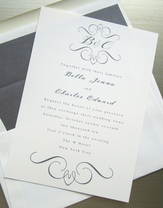 elegant wedding invites white gray with custom monogram