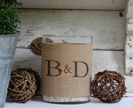 rustic wedding reception table decor burlap votives