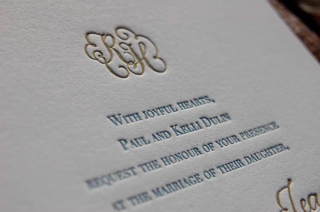Elegant letterpress wedding invitations gold gray blue white stopboris Image collections