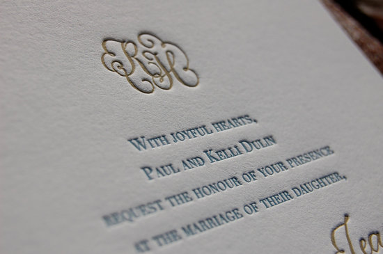 elegant letterpress wedding invitations gold gray blue white