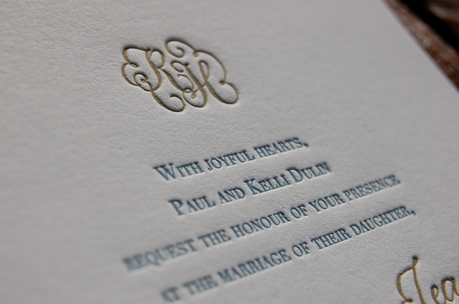 Elegant Letterpress Wedding Invitations Gold Gray Blue White OneWed